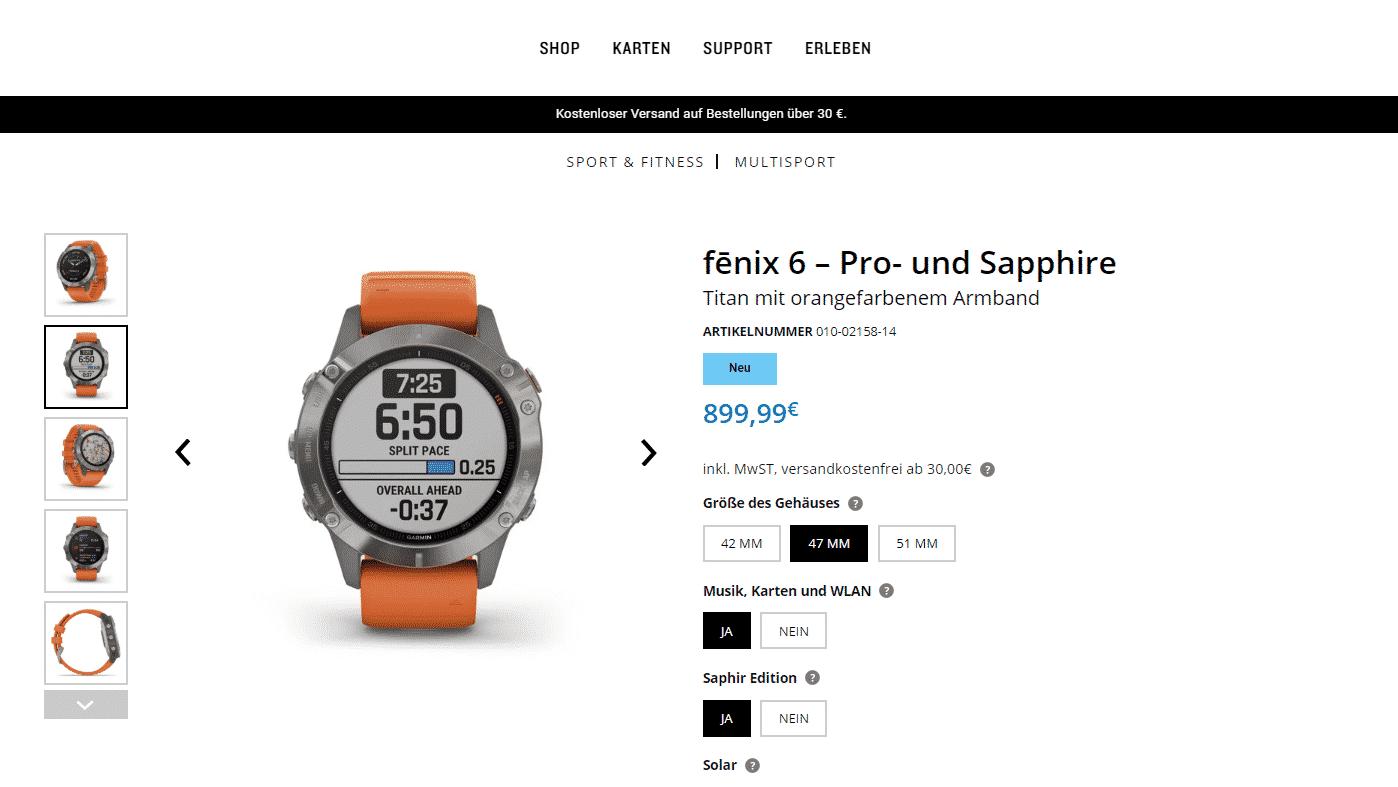Garmin Fenix 6 Pro, Saphir und Solar veröffentlicht
