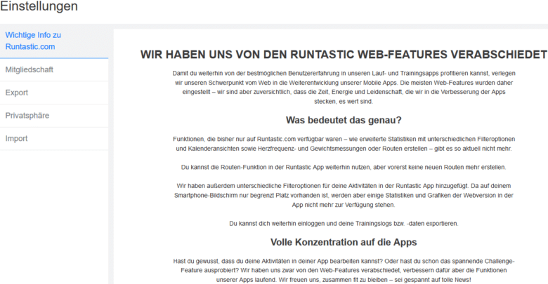 Photo of Runtastic stellt Web-Version ein