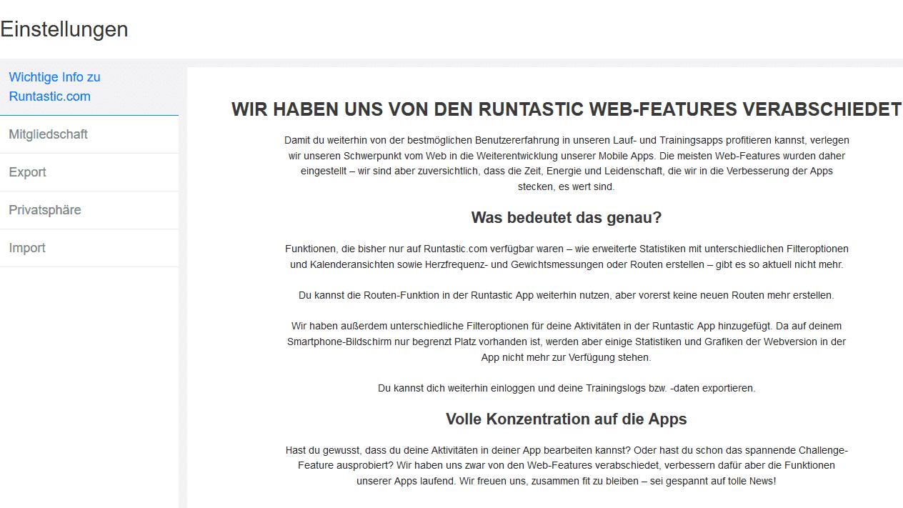 Runtastic stellt Web-Version ein