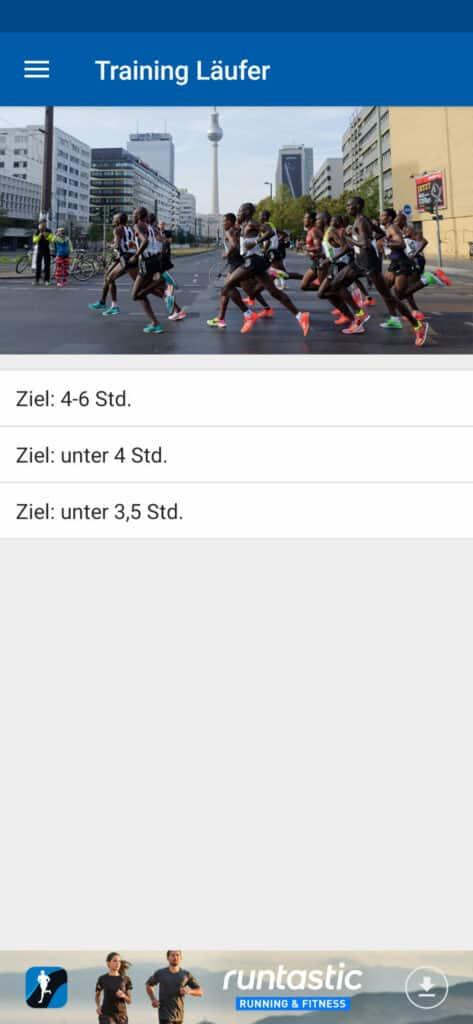 Berlin Marathon App Trainingspläne